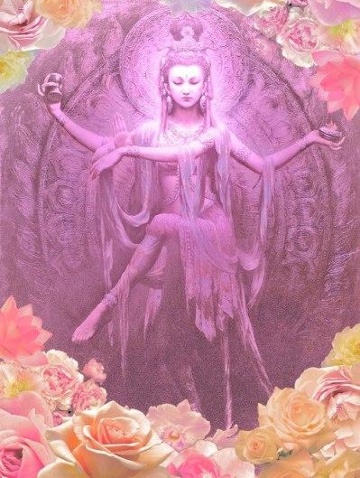 Kwan Yin Purple with Roses